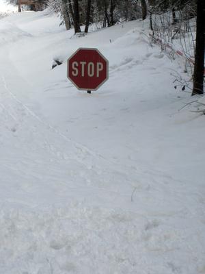 Stop-Schild im Schnee