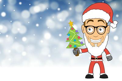 Weihnachtskarte mit Santa als Nerd