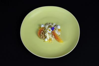 Fenchelcarpaccio mit Orange, Walnuss und Frischkäse