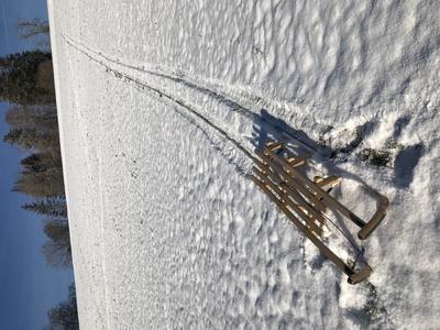 Schlitten auf verschneitem Hügel