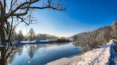 Winterlandschaft an der Mulde bei Rochlitz