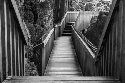 Holzbrücke  Schwarzweißfotografie