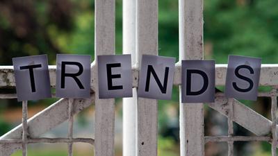 Trends als Titel in einzelnen Buchstaben